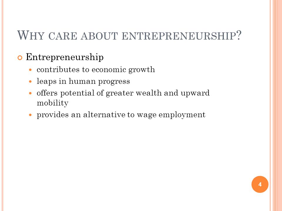D EFINING ENTREPRENEURSHIP Who is an entrepreneur.