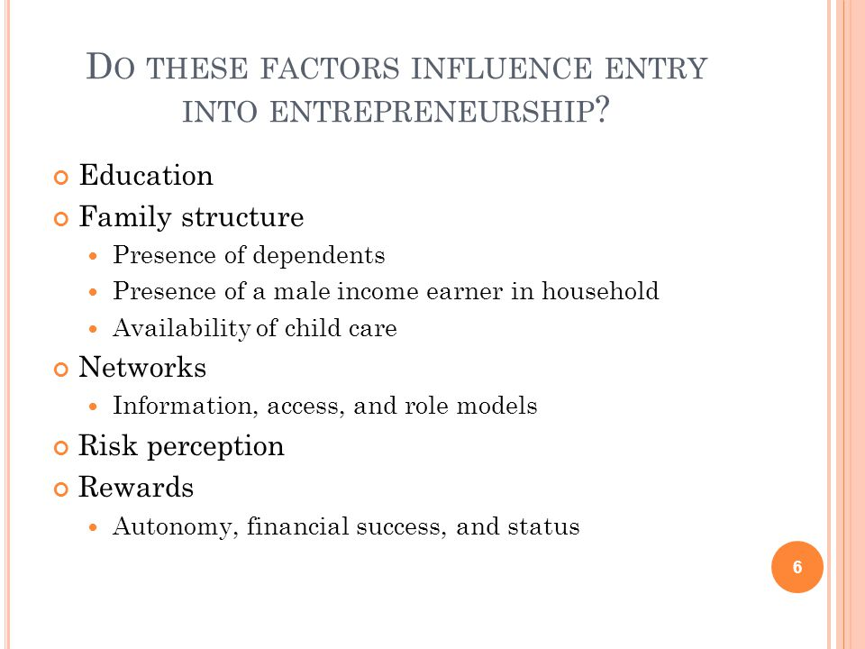 D O THESE FACTORS INFLUENCE ENTRY INTO ENTREPRENEURSHIP .