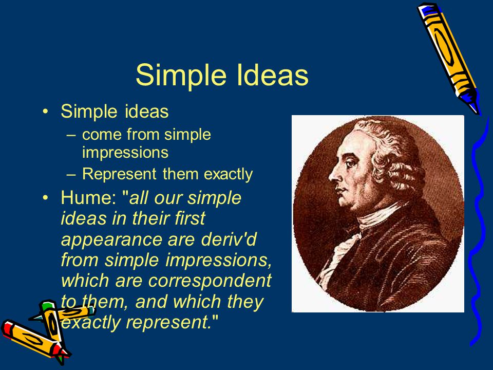 Empiricists' Method Analyze complex ideas into simple ideas Find origins of simple ideas in experience Content of the idea lies in simple impression(s) from which it comes