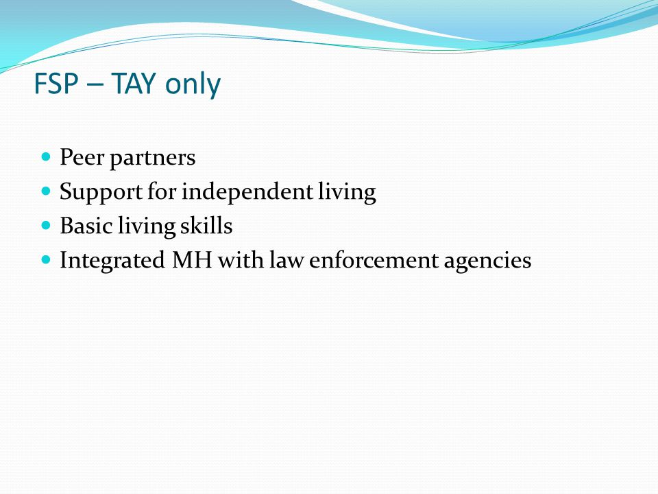 FSP – TAY only Peer partners Support for independent living Basic living skills Integrated MH with law enforcement agencies