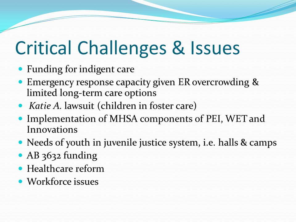 Critical Challenges & Issues Funding for indigent care Emergency response capacity given ER overcrowding & limited long-term care options Katie A. law