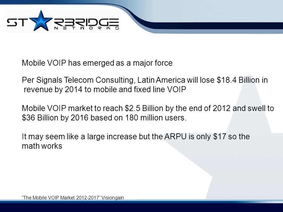 Mobile VOIP has emerged as a major force Per Signals Telecom Consulting, Latin America will lose $18.4 Billion in revenue by 2014 to mobile and fixed line VOIP Mobile VOIP market to reach $2.5 Billion by the end of 2012 and swell to $36 Billion by 2016 based on 180 million users.