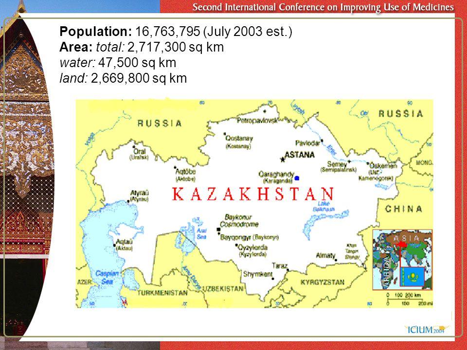 Population: 16,763,795 (July 2003 est.) Area: total: 2,717,300 sq km water: 47,500 sq km land: 2,669,800 sq km