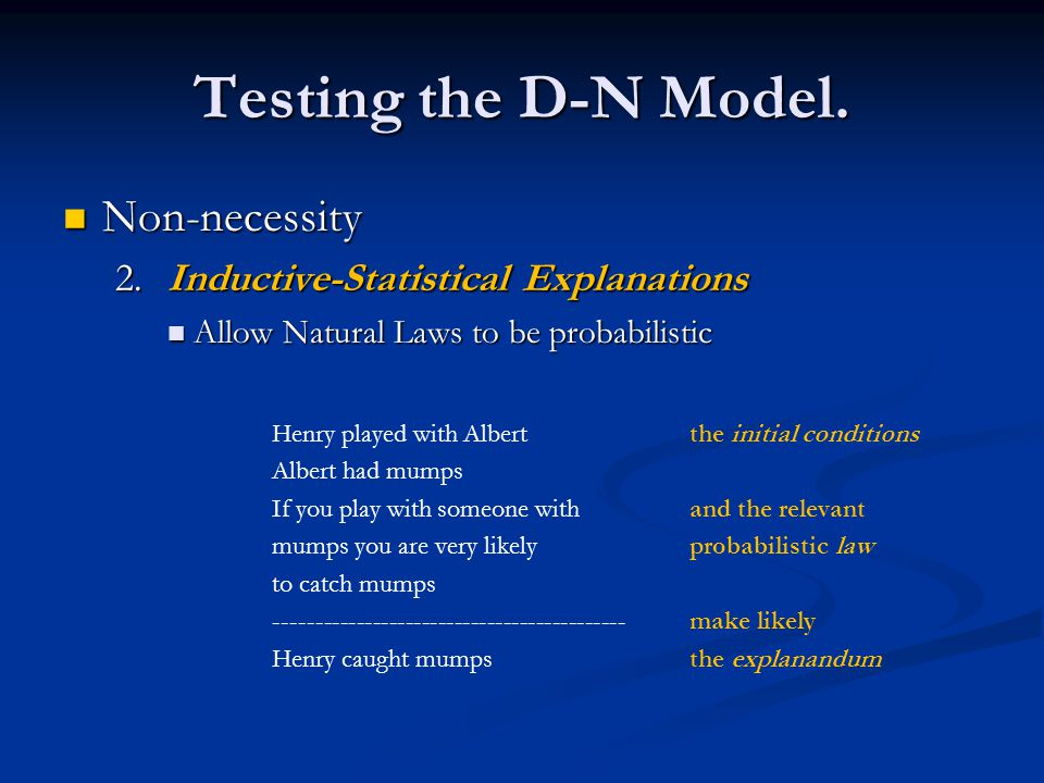 Testing the D-N Model. Non-necessity Non-necessity 2.Inductive-Statistical Explanations Allow Natural Laws to be probabilistic Allow Natural Laws to b