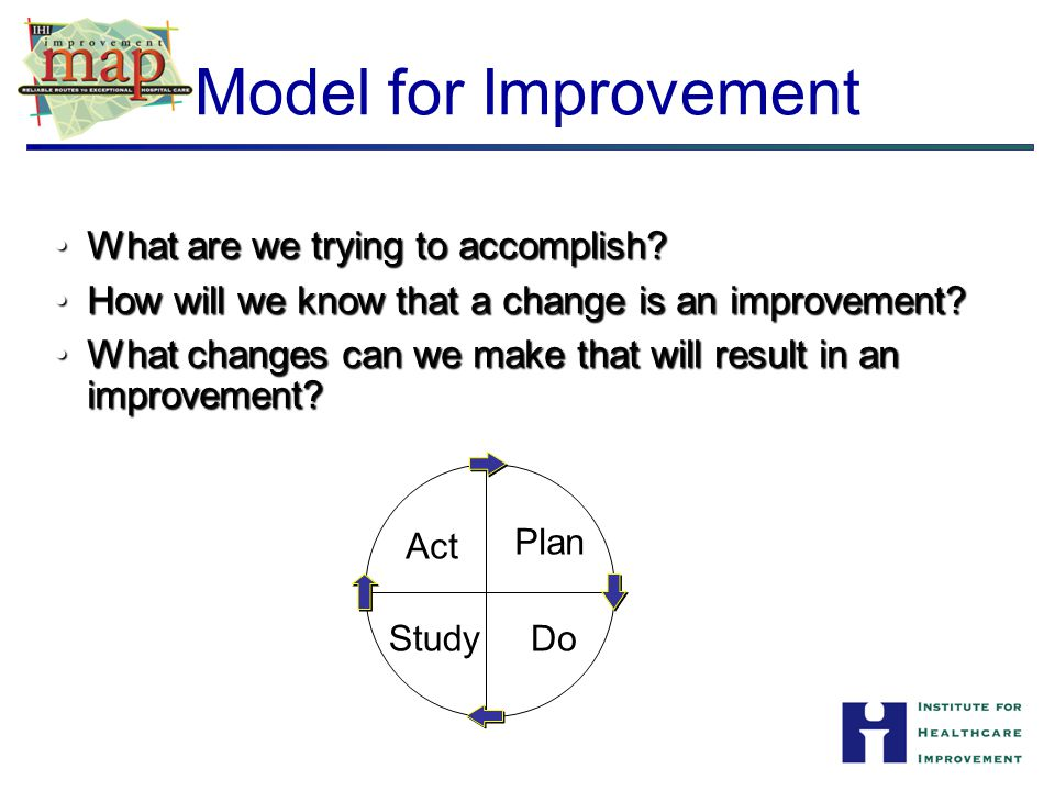 Model for Improvement Act Plan StudyDo What are we trying to accomplish?What are we trying to accomplish? How will we know that a change is an improve