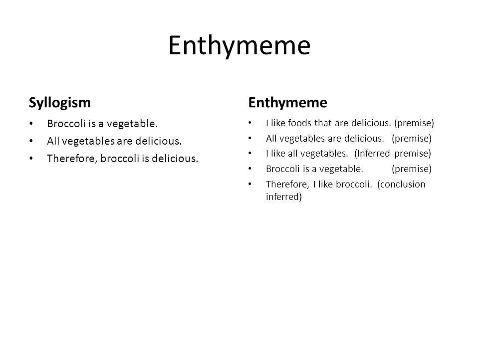 Enthymeme Syllogism Broccoli is a vegetable.All vegetables are delicious.