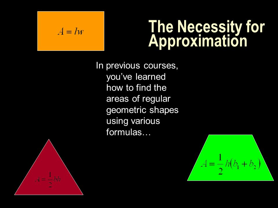 The Necessity for Approximation In previous courses, you've learned how to find the areas of regular geometric shapes using various formulas…
