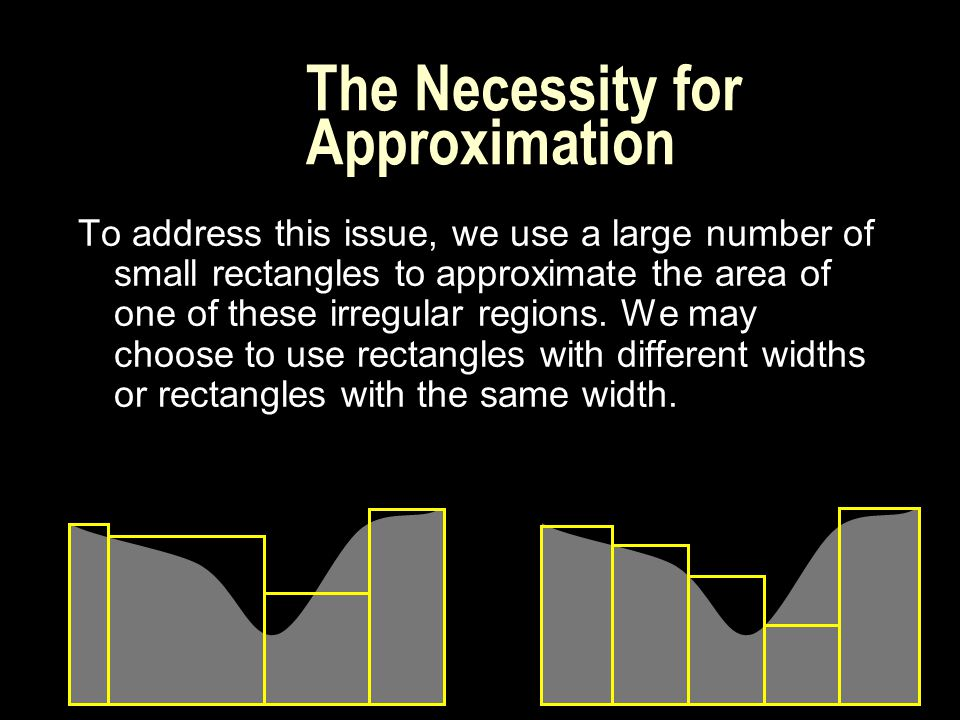 The Necessity for Approximation To address this issue, we use a large number of small rectangles to approximate the area of one of these irregular regions.