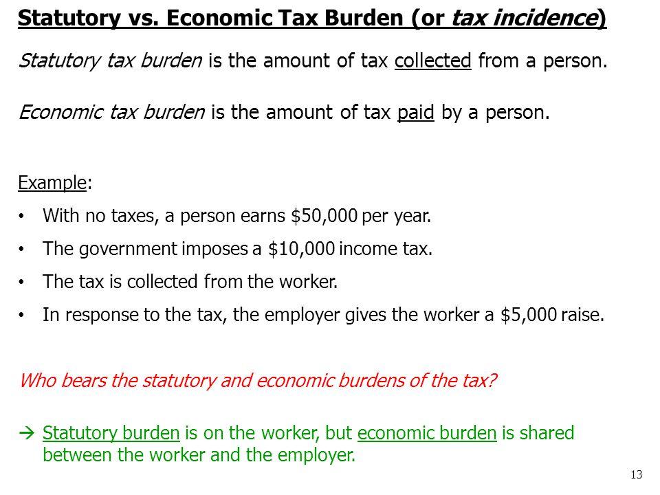 13 Statutory vs. Economic Tax Burden (or tax incidence) Statutory tax burden is the amount of tax collected from a person. Economic tax burden is the