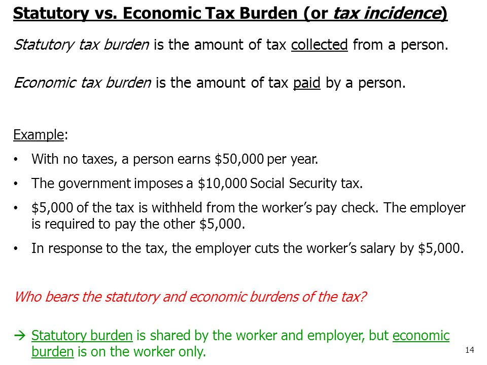 14 Statutory vs. Economic Tax Burden (or tax incidence) Statutory tax burden is the amount of tax collected from a person. Economic tax burden is the