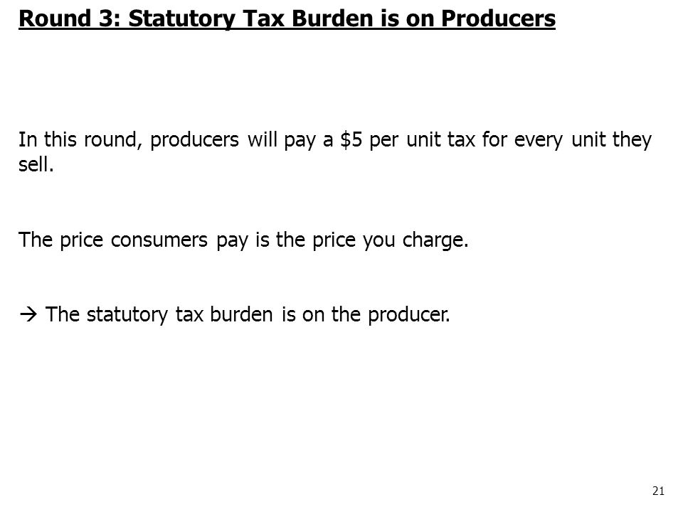 21 Round 3: Statutory Tax Burden is on Producers In this round, producers will pay a $5 per unit tax for every unit they sell.