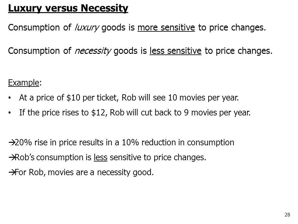 28 Luxury versus Necessity Consumption of luxury goods is more sensitive to price changes. Consumption of necessity goods is less sensitive to price c