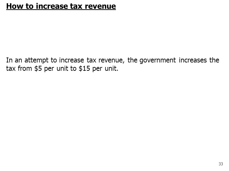 33 How to increase tax revenue In an attempt to increase tax revenue, the government increases the tax from $5 per unit to $15 per unit.