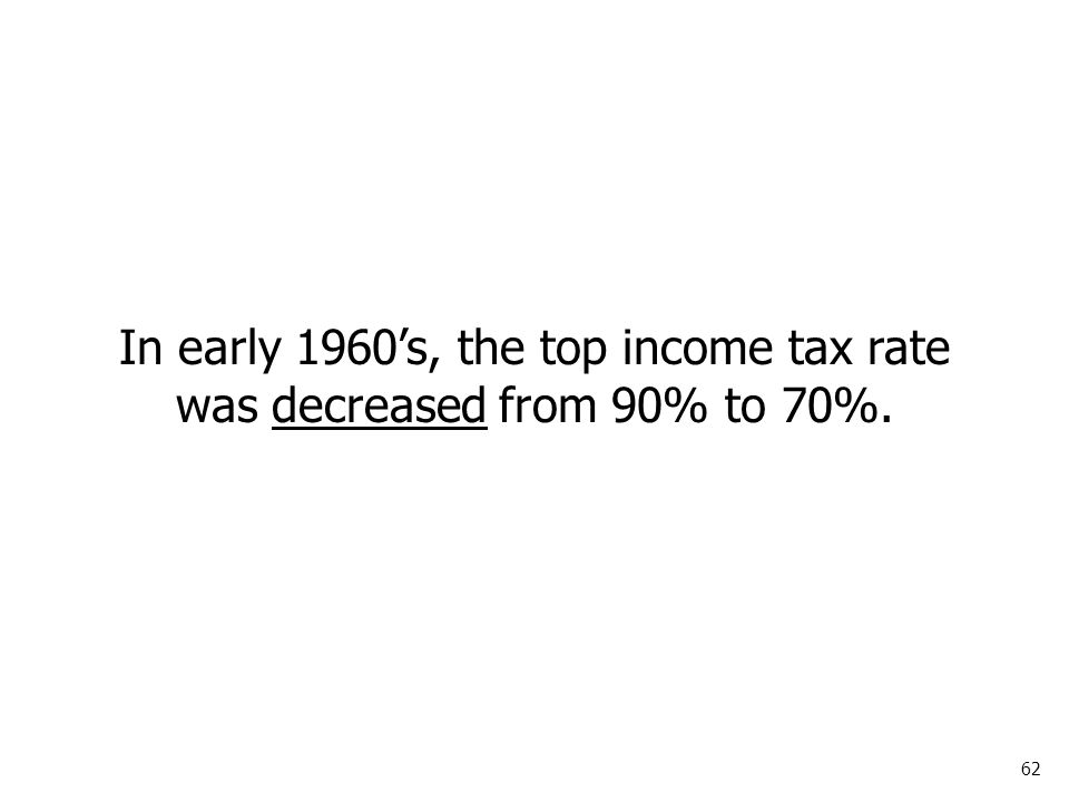 62 In early 1960's, the top income tax rate was decreased from 90% to 70%.