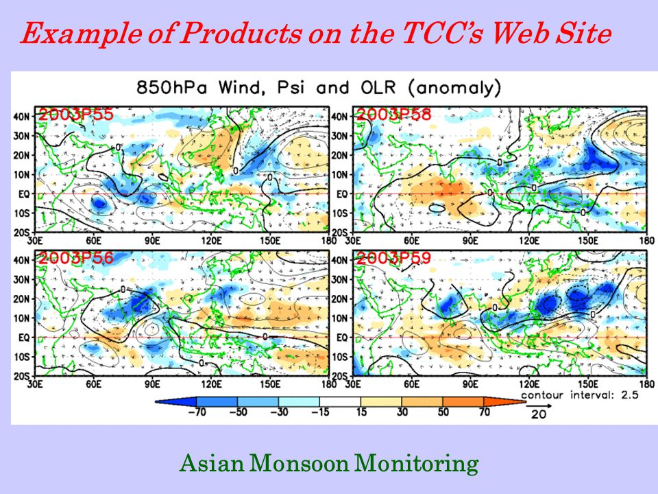Asian Monsoon Monitoring Example of Products on the TCC's Web Site