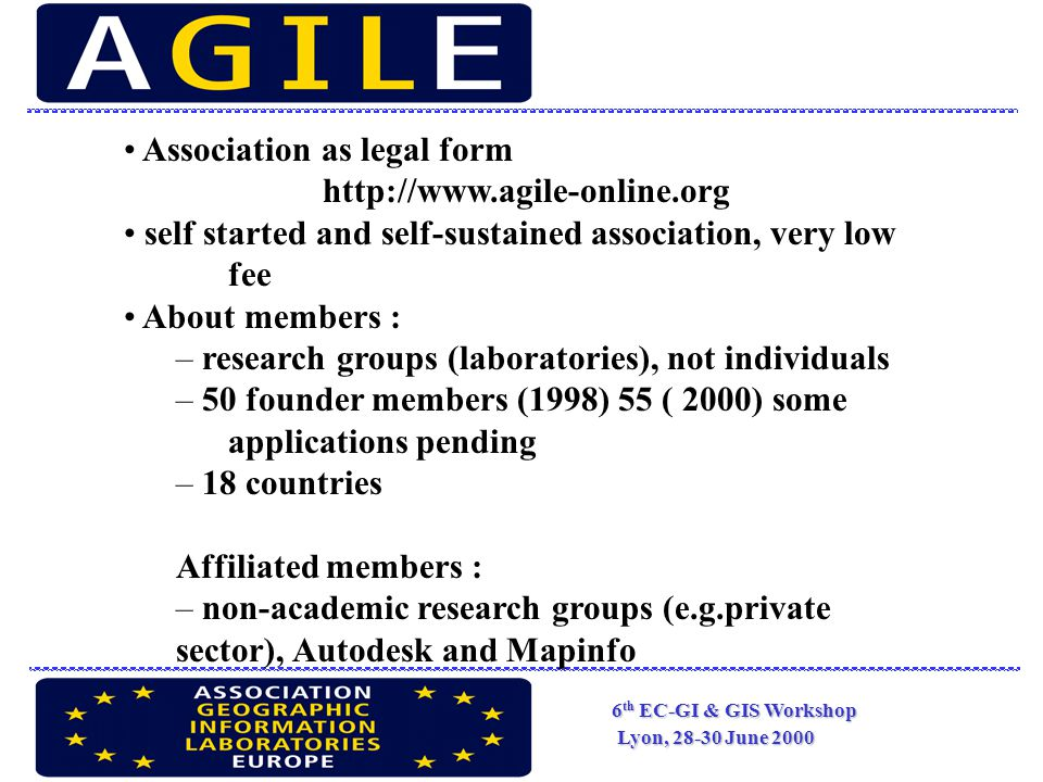 6 th EC-GI & GIS Workshop Lyon, 28-30 June 2000 Association as legal form http://www.agile-online.org self started and self-sustained association, very low fee About members : – research groups (laboratories), not individuals – 50 founder members (1998) 55 ( 2000) some applications pending – 18 countries Affiliated members : – non-academic research groups (e.g.private sector), Autodesk and Mapinfo
