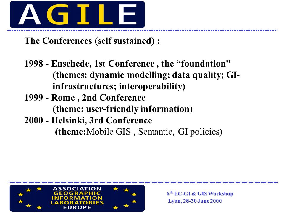 6 th EC-GI & GIS Workshop Lyon, 28-30 June 2000 The Conferences (self sustained) : 1998 - Enschede, 1st Conference, the foundation (themes: dynamic modelling; data quality; GI- infrastructures; interoperability) 1999 - Rome, 2nd Conference (theme: user-friendly information) 2000 - Helsinki, 3rd Conference (theme:Mobile GIS, Semantic, GI policies)