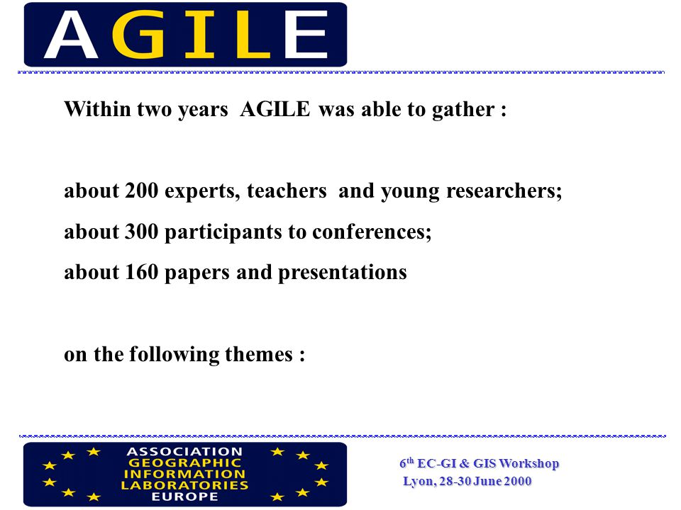 6 th EC-GI & GIS Workshop Lyon, 28-30 June 2000 The Development Of Agile Activities in Connection and Collaboration With The Activities of EC relative To Geographic and Territorial System.