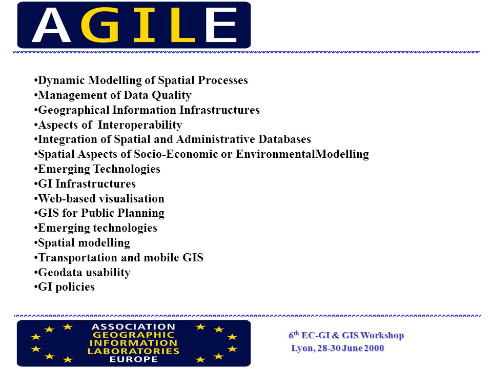6 th EC-GI & GIS Workshop Lyon, 28-30 June 2000 AGILE's columns : research agenda or roster of research activities WGs : GIS and environment, Interoperability, Data policy