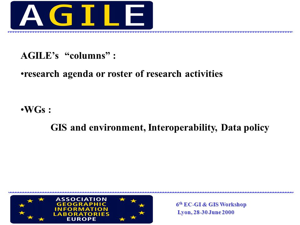 6 th EC-GI & GIS Workshop Lyon, 28-30 June 2000 Bringing together the research and teaching community for the progress of GI Science and applications in the EU society http://www.agile-online.org