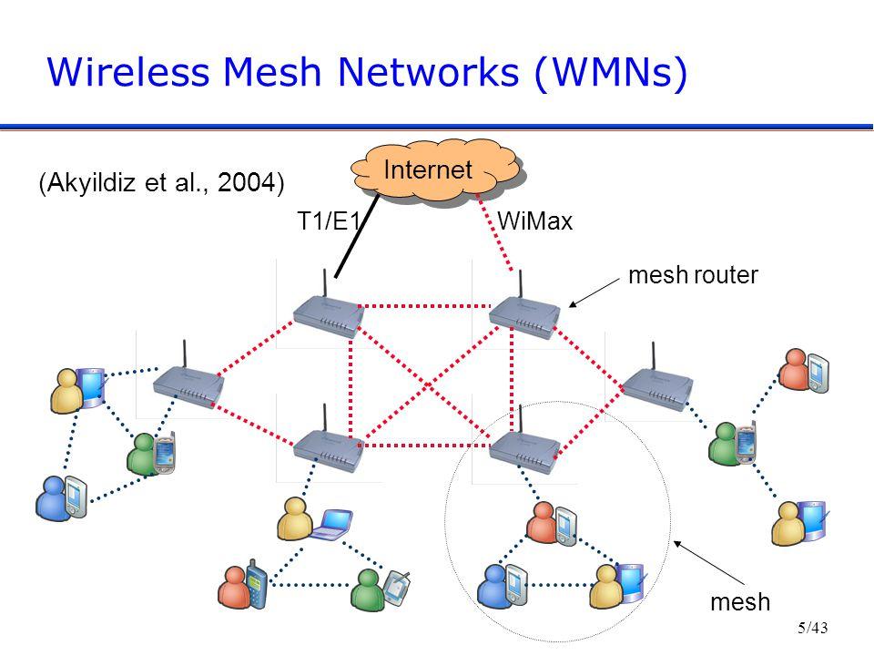 5/43 Wireless Mesh Networks (WMNs) Internet WiMaxT1/E1 mesh mesh router (Akyildiz et al., 2004)