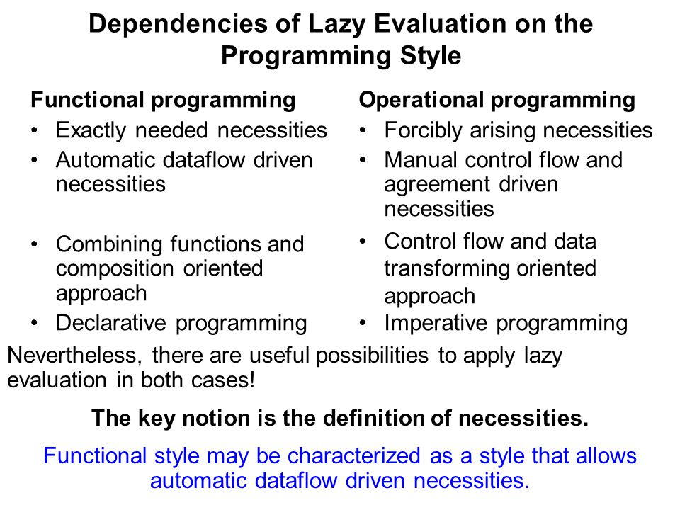 Dependencies of Lazy Evaluation on the Programming Style Functional programming Exactly needed necessities Automatic dataflow driven necessities Combining functions and composition oriented approach Declarative programming Operational programming Forcibly arising necessities Manual control flow and agreement driven necessities Control flow and data transforming oriented approach Imperative programming Nevertheless, there are useful possibilities to apply lazy evaluation in both cases.