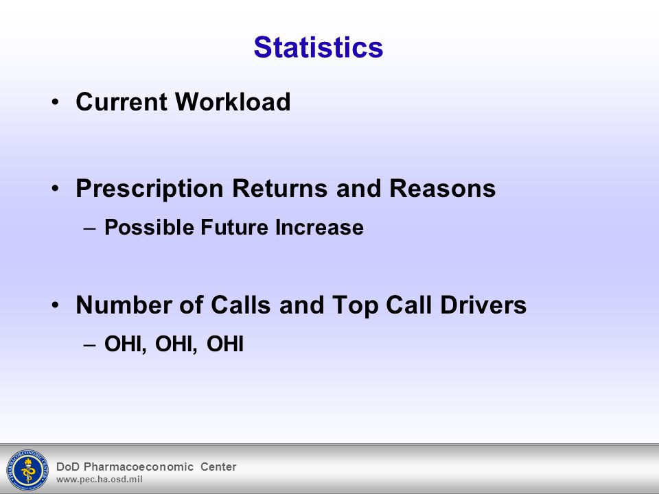 DoD Pharmacoeconomic Center www.pec.ha.osd.mil Statistics Current Workload Prescription Returns and Reasons –Possible Future Increase Number of Calls and Top Call Drivers –OHI, OHI, OHI