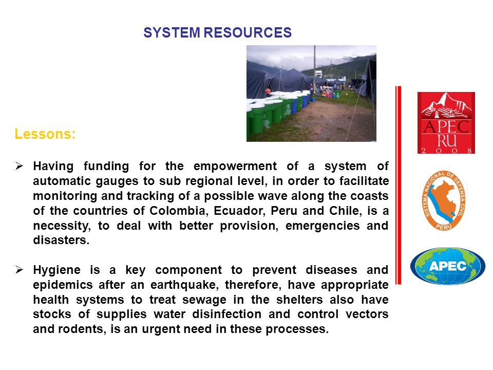 Lessons:  Having funding for the empowerment of a system of automatic gauges to sub regional level, in order to facilitate monitoring and tracking of a possible wave along the coasts of the countries of Colombia, Ecuador, Peru and Chile, is a necessity, to deal with better provision, emergencies and disasters.