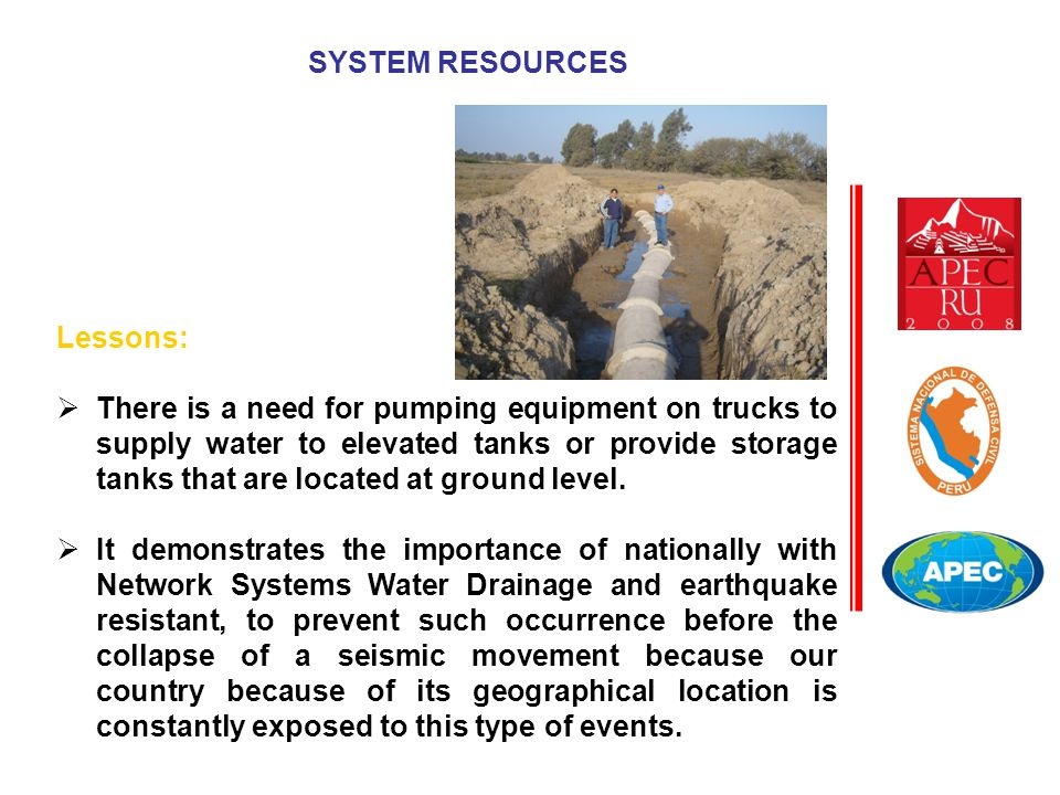 Lessons:  There is a need for pumping equipment on trucks to supply water to elevated tanks or provide storage tanks that are located at ground level