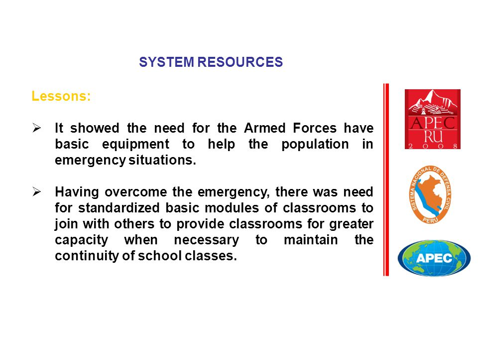 Lessons:  It showed the need for the Armed Forces have basic equipment to help the population in emergency situations.  Having overcome the emergenc