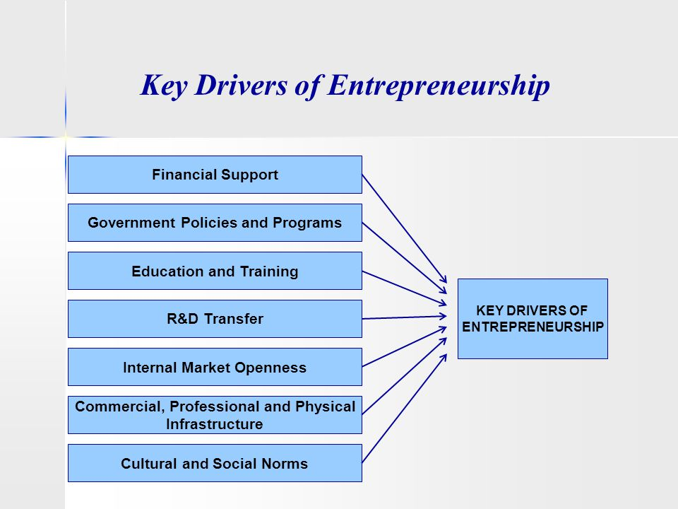 Key Drivers of Entrepreneurship KEY DRIVERS OF ENTREPRENEURSHIP Financial Support Government Policies and Programs Education and Training Internal Mar