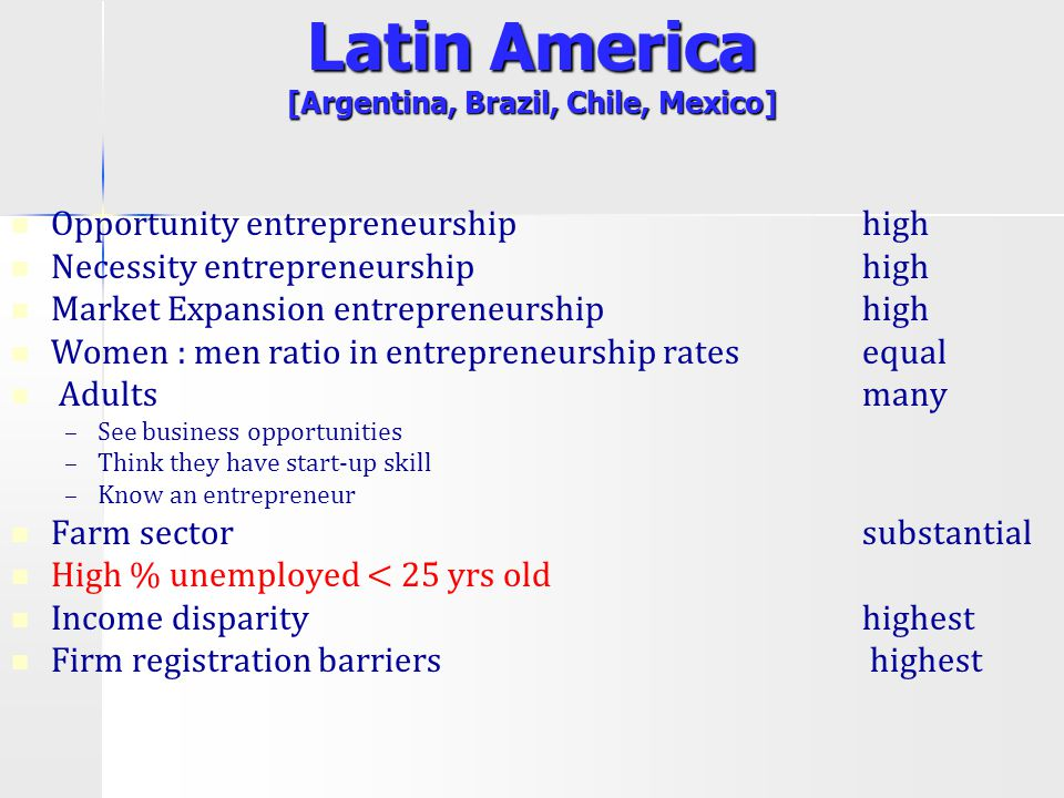 Latin America [Argentina, Brazil, Chile, Mexico] Opportunity entrepreneurship high Necessity entrepreneurship high Market Expansion entrepreneurship h