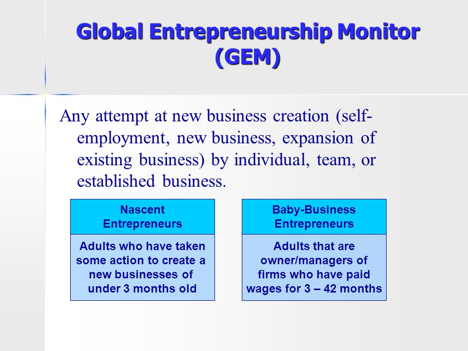 Global Entrepreneurship Monitor (GEM) Any attempt at new business creation (self- employment, new business, expansion of existing business) by individ