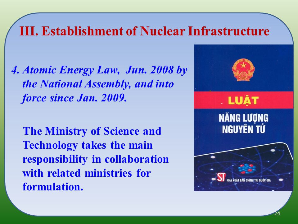 4. Atomic Energy Law, Jun. 2008 by the National Assembly, and into force since Jan.