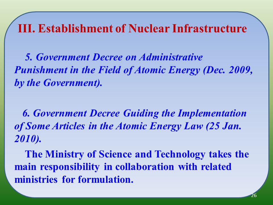 5. Government Decree on Administrative Punishment in the Field of Atomic Energy (Dec.