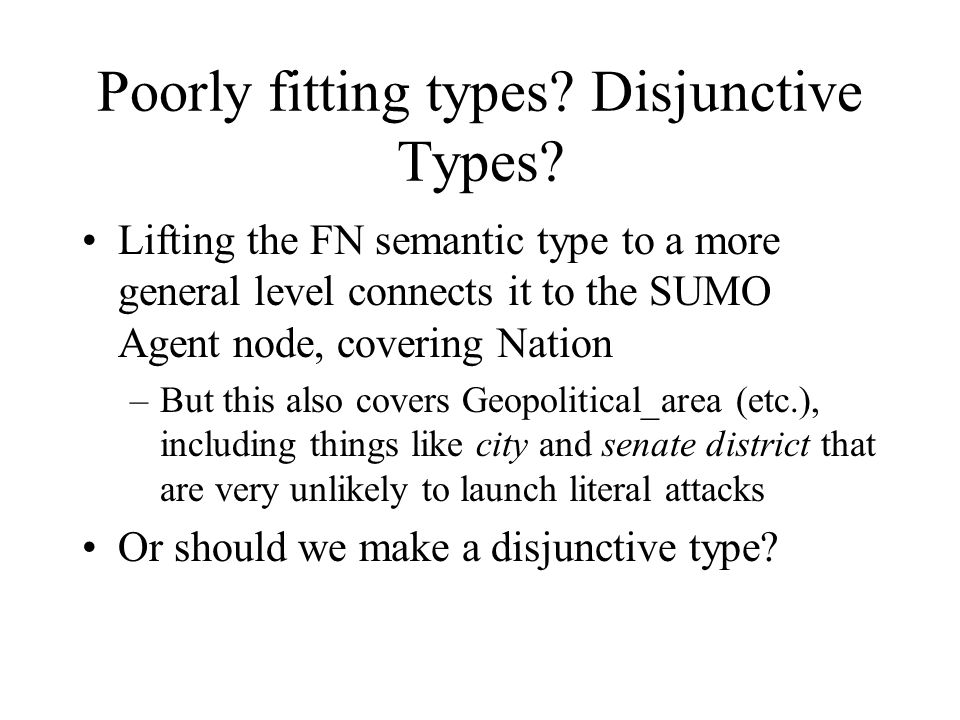 Poorly fitting types? Disjunctive Types? Lifting the FN semantic type to a more general level connects it to the SUMO Agent node, covering Nation –But