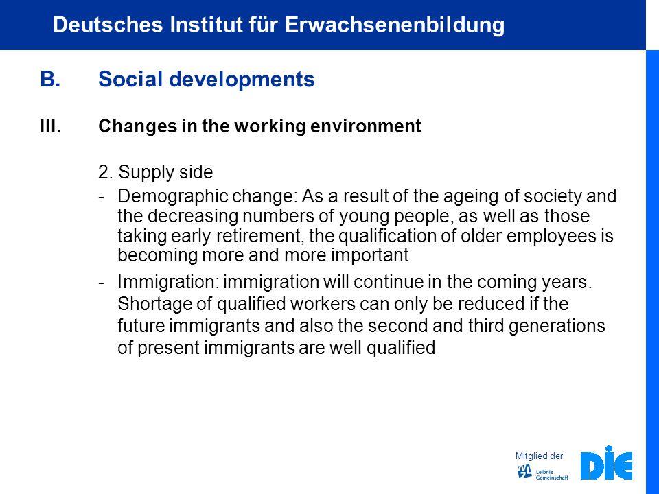Mitglied der Deutsches Institut für Erwachsenenbildung B.Social developments III.Changes in the working environment 2.