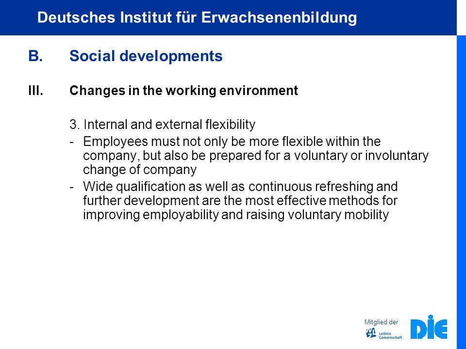 Mitglied der Deutsches Institut für Erwachsenenbildung B.Social developments III.Changes in the working environment 3.