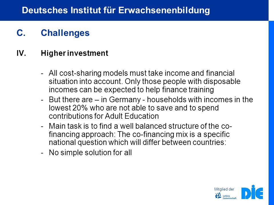 Mitglied der Deutsches Institut für Erwachsenenbildung C.Challenges IV.Higher investment -All cost-sharing models must take income and financial situation into account.