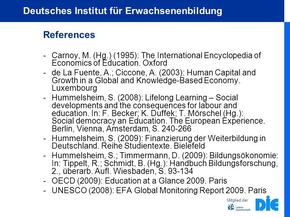 Mitglied der Deutsches Institut für Erwachsenenbildung References - Carnoy, M.