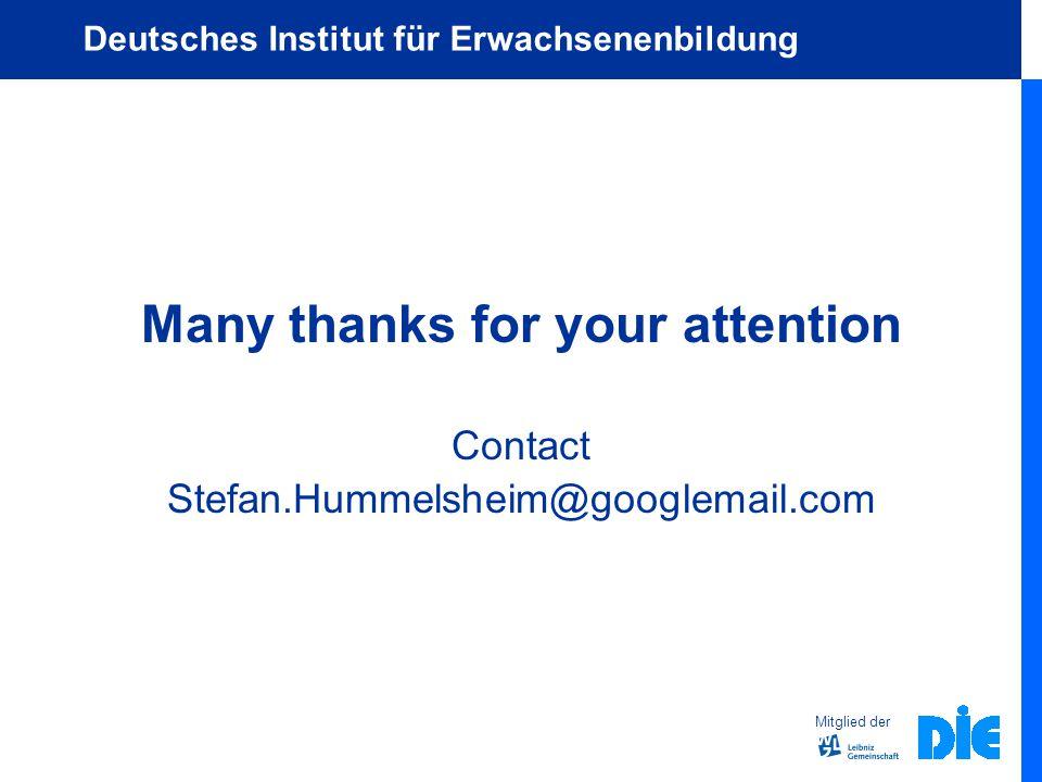 Mitglied der Deutsches Institut für Erwachsenenbildung Many thanks for your attention Contact Stefan.Hummelsheim@googlemail.com