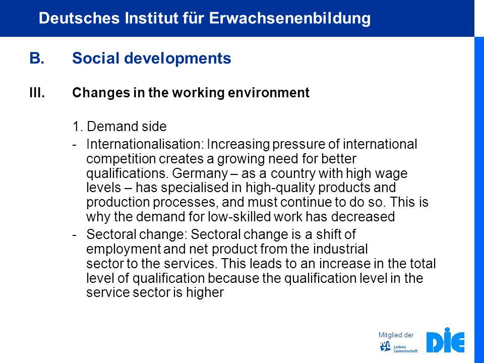 Mitglied der Deutsches Institut für Erwachsenenbildung B.Social developments III.Changes in the working environment 1.