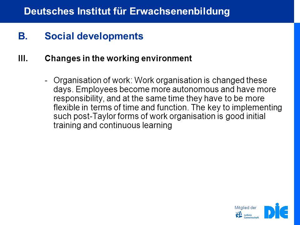 Mitglied der Deutsches Institut für Erwachsenenbildung B.Social developments III.Changes in the working environment -Organisation of work: Work organisation is changed these days.