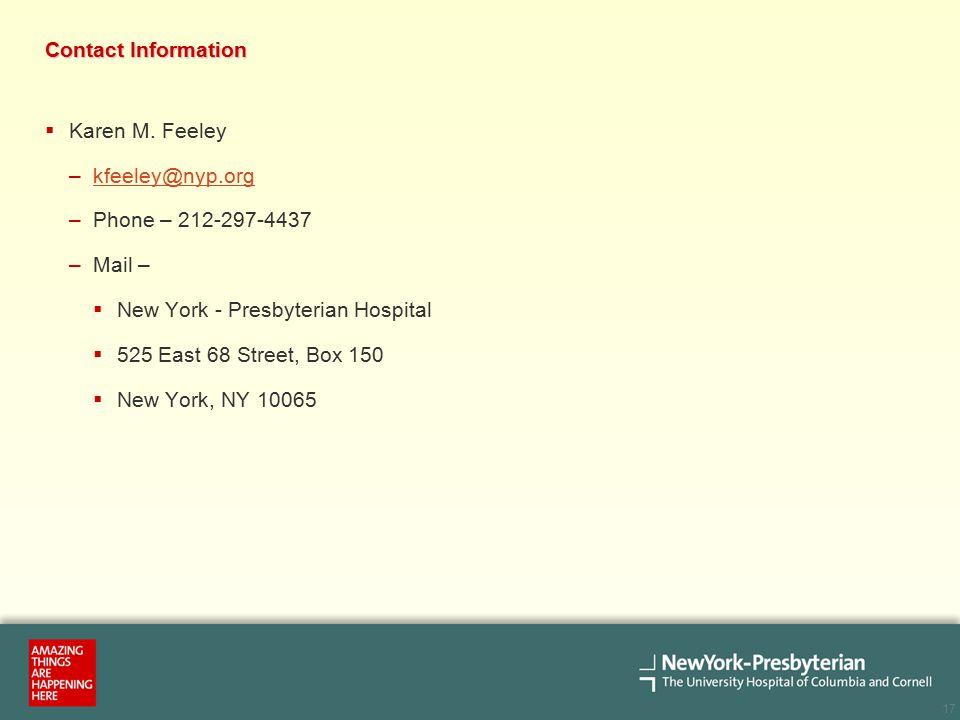 17 Contact Information  Karen M.
