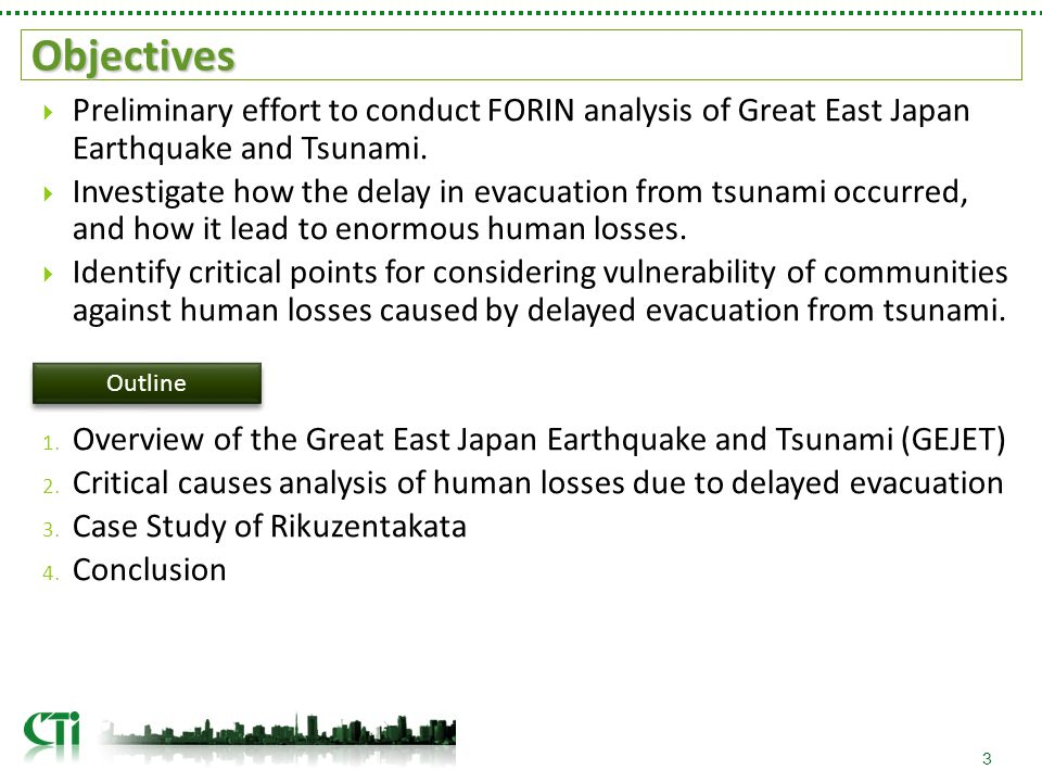 Flow of Human Losses in Rikuzentakata 24 self-judged quake Warning not accessible Warning accessible Did not evacuate info-reactive follow others Evacuated Arrived at evacuation shelters Did not arrive at evacuation shelters Evacuation shelter not stricken by tsunami Evacuation shelter stricken by tsunami Escaped from tsunami Caught by tsunami Lack of awareness regarding tsunami risks lead to delay in evacuation.