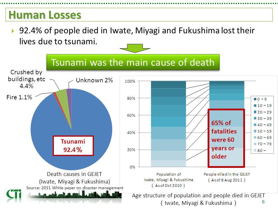 Human Losses  92.4% of people died in Iwate, Miyagi and Fukushima lost their lives due to tsunami.