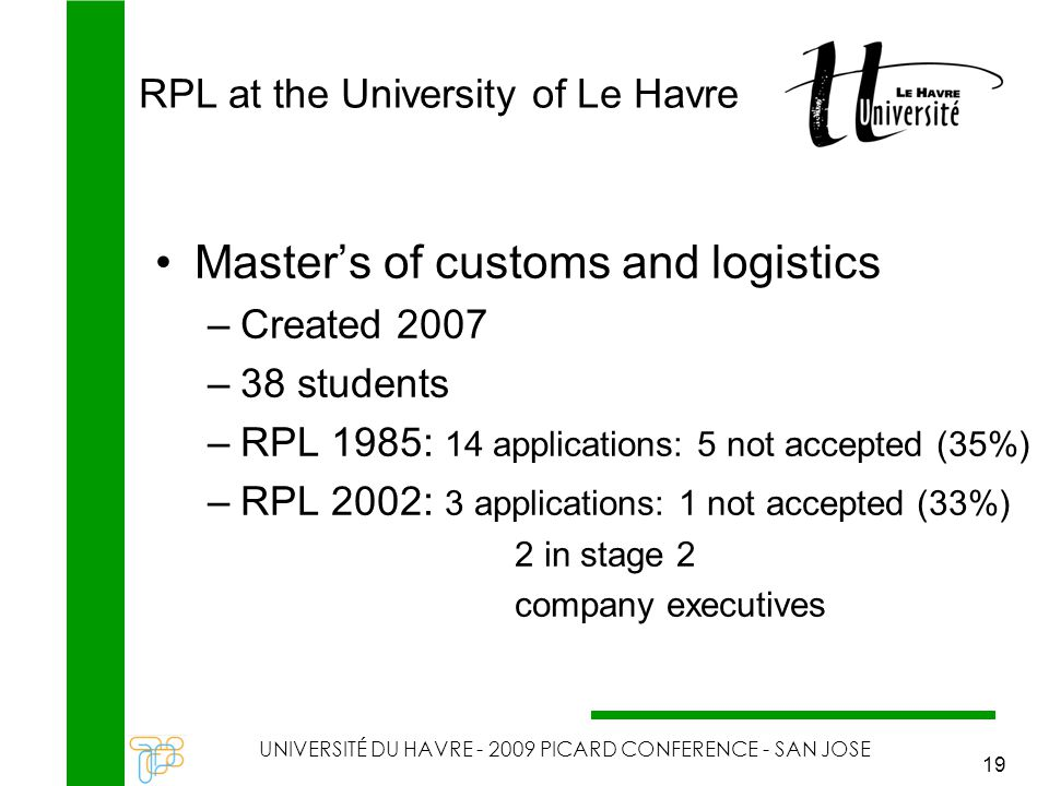 RPL at the University of Le Havre UNIVERSITÉ DU HAVRE - 2009 PICARD CONFERENCE - SAN JOSE 19 Master's of customs and logistics –Created 2007 –38 stude