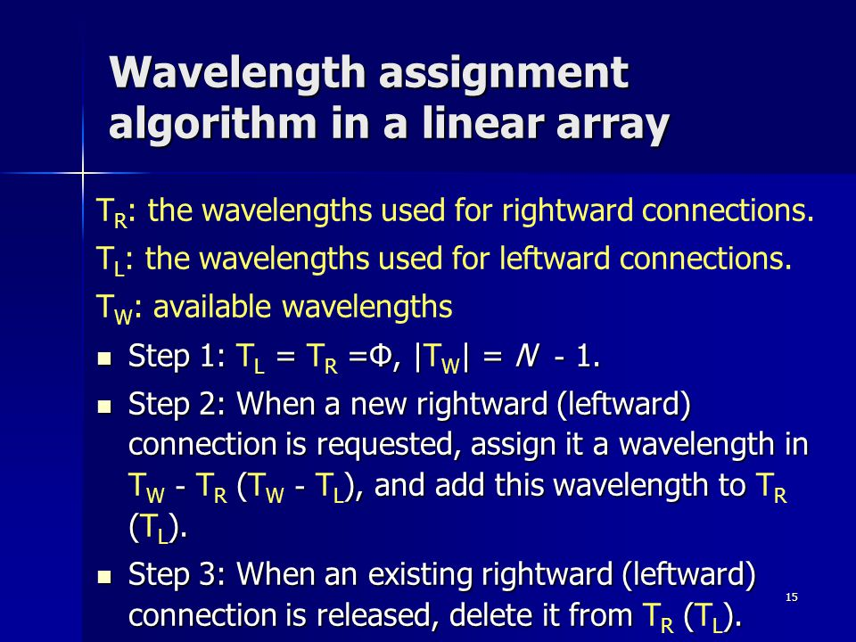15 Wavelength assignment algorithm in a linear array T R : the wavelengths used for rightward connections.