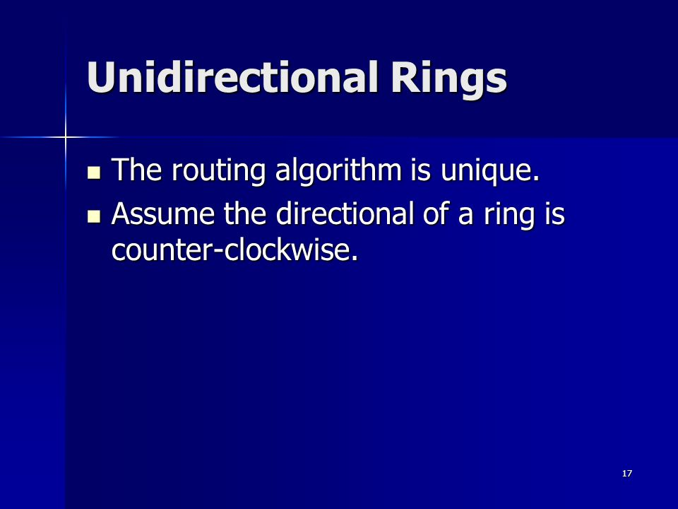 17 Unidirectional Rings The routing algorithm is unique.