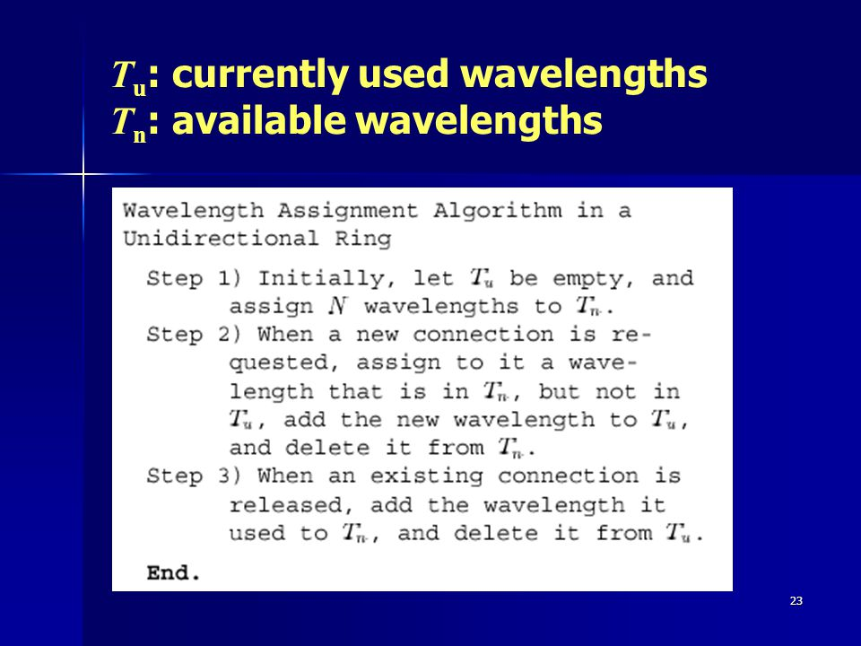 23 T u : currently used wavelengths T n : available wavelengths